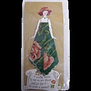 Vintage Paper Doll  Handkerchief..Hankie..Lady Greeting Card..Green Printed Hankie With Dusty