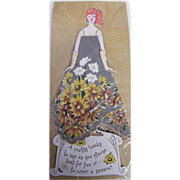 Paper Doll Hanky..Handkerchief Greeting Card..Gray With White, Gold, Beige Flowers..NOS