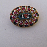 Small Oval Italian Mosaic Pin..Mini Petite Point Floral Design..1950's-60's