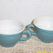 Shenango Turquoise Restaurant Cups With Cascade Scallop Sides [2]