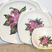 Vintage Paden City Pink Tiger Lily..SQUARE Shaped.. 3-Piece Set..Dinner Plate..Dessert Plate..