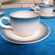 LOT /  Franciscan Country Craft / Blue Skies..Aqua Blue Ombre rim 6 Sets Cup/Saucers & Creamer