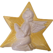 Yellow Ceramic Star With White Relief Praying Angel..Candle Holder / Planter / Vase..Spalding China Co...Excellent Condition..3 Available