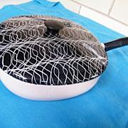 1950's SWIRL..Spaghetti..Confetti..Enamel Covered Pot..Pink/White Base & Black/White Lid..
