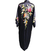 SALE PENDING Kimono Robe..Floral Satin Embroidery..Black Silk Satin..Lined..Extra Large