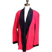 SALE Santa Robe Smoking Jacket..Red Corduroy..Black Linen Collar