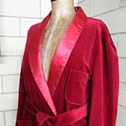 SALE Vintage Men's Lounging Robe / Smoking Jacket..Shawl Collar & Belt..Wine..Excellent Condit