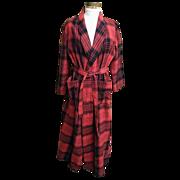 SALE Robe..1970's Red / Black Blanket Plaid..Shawl Collar..Tie..B Altman..China..Size ...
