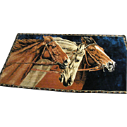 Three Horses Tapestry Wall Hanging Rug...Rayon Velvet & Cotton.