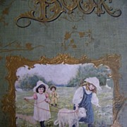 Antique Victorian Scrap Book Cover..Children In Field With Lamb