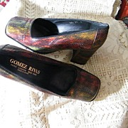 "Vintage Gomez Rivas' Reptile Snakeskin Shoes..3"" Heel..Autumn Colors..Size 37D..Made In Spain."