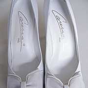 "Vintage White Leather Open Toe Heels [3""] With Bow By Caressa..Size 7 Narrow ..."