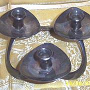 Pair Of Lundt Danish Modern Silver Plated Tri-Candle Holders  Heavy Weight