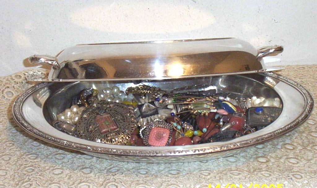 Vintage Oval Silver Covered Serving Dish..