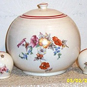 REDUCED Kitchen Ware Pottery Round Cookie Jar And Shaker set in A Wild Poppy Design
