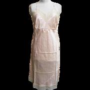 1940's..Full Slip..Rayon..Pastel Peach..Beige Lace Bodice & Hem Trim..DEAD STOCK..Size 36