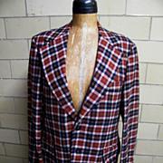 SALE Vintage 1960'-70's Men's Sports Jacket Coat..Rust / Navy / Beige Tattersall Check..Wool..