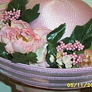 Pink Wide Brimmed Straw Floral Hat With Alternating Sheer Bands Along Brim