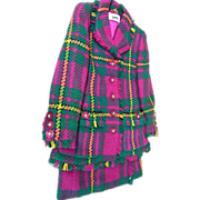 Suit..Geoffrey Beene..Brightly Colored Diagonal Plaid..1960's..Excellent Condition