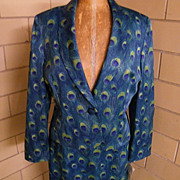 Peacock Print Satin Shawl Collar Suit By BIGIO..Size 16..New With Tags