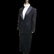EMANUEL By Emanuel Ungaro..Black 2-Piece Tuxedo Suit..Maxi Skirt..Hong Kong..Petite