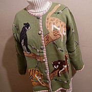 SALE PENDING Sweater Cotton Cardigan Tiger & Lions Knit..New Condition..Limited Edition..Story