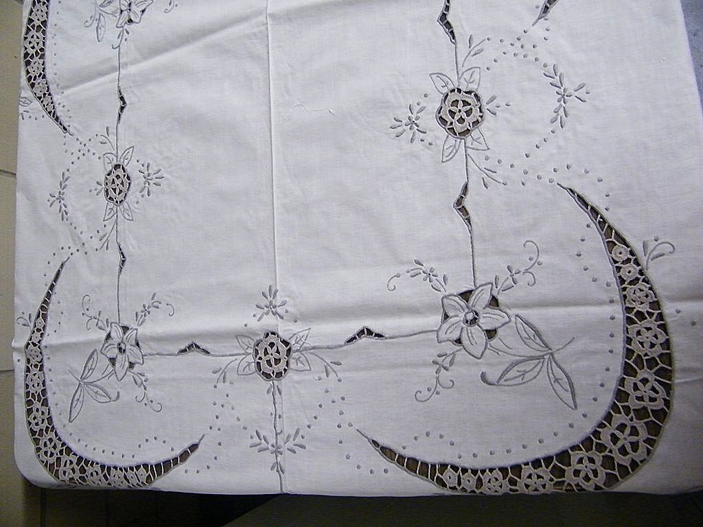 1950's Tablecloth Hand-Made in China..Satin Embroidery & Crochet Inserts..Quarter Moon Design..Never Used