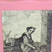 SALE Antique Toile de Jouy Woman..Child..Dog..Copper Engraved Framed Print..Cotton Sateen