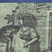SALE Antique..Toile de Jouy Copper Gray Engraved Print..Peasant Woman & Son..Cotton Sateen..Fr