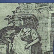 Antique..Toile de Jouy Copper Gray Engraved Print..Peasant Woman & Son..Cotton Sateen..Framed