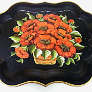 Striking.. Large Red Poppies...Hand Painted...Tole Tray..Extra Large Size