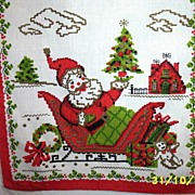 Santa In Sleigh Linen Dish Towel  TWO Available