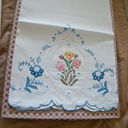 Vintage..Over-Sized Linen Guest Towel's...Embroidered..Italy..Purolino..New Condition..6 ...