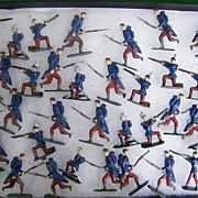 Early 1900's Large Lead Flat Medal Toy Soldier Set Of 36..Double-Sided..Enamel ...