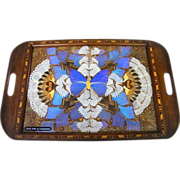"Pressed Butterfly Wing Tray On Wood Inlay Tray..Blue Center..Rio De Janeiro..20.5"" X 13.5"