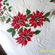 Poinsettia/Candles/Holly/ Pinecones Tablecloth