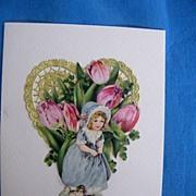 Valentine Collage Greeting Card..Vintage Scraps..Girl In Blue Dress..Pink Tulips..Gold Foil Heart..MINT