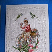 Victorian Valentine..BOY ON BIKE..Lacy..Pink Roses & Lilies..Embossed..Die Cut..Never Used..Mi