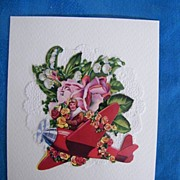 Valentine Card..BOY IN RED PLANE..Vintage Paper Collage.Mint.