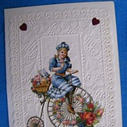 Victorian..Valentine..GIRL On BIKE..Lacy..Layered..Embossed..Die-Cut..Never Used:Mint