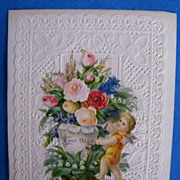 Victorian..Valentine Greeting Card..EVER THINE..Lacy..Die Cut..Embossed..Never Used..Mint