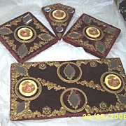 SALE Vintage....Victorian Style Set Of 4 Wall Plaques Of Victorian Couples  Wine Plush Fabric