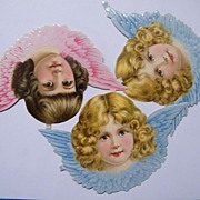 Victorian Die Cut Angel Scraps..Blonde & Brown Curls With Pink & Blue Wings..Set Of 3..German.