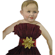 Victorian Paper Puppet..Wine Crepe Paper Dress..Child..Girl