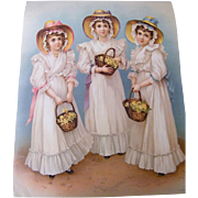 """Very Special Victorian Print From Germany Of 3 Girls With Baskets..Excellent Condition 19.5"""" X 16"""""""