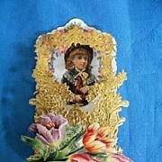 Victorian Pop-Up VALENTINE..Girl Holding Horse..Dye-Cut..Gold Embossed Foil..MINT