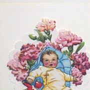 Aha A Baby Greeting Card Made From Die- Cut Vintage Embossed Paper Scraps