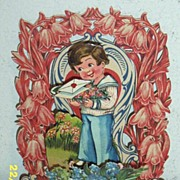 SALE Antique Vintage Valentine..3-D: ..Boy With Tray Of Flowers..Pop_Out: Die-Cut..Embossed ..