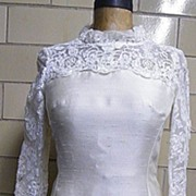 PRINCESS Style Wedding Dress..Shantung & Lace..1960's..Size 12..Excellent Condition