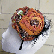 Bridesmaid Headpiece ..Draped Silk Flower In Solid Colors & Prints With Bead & Feather
